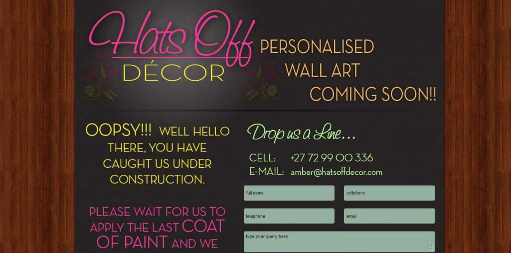 Hats Off Decor Website Landing Page